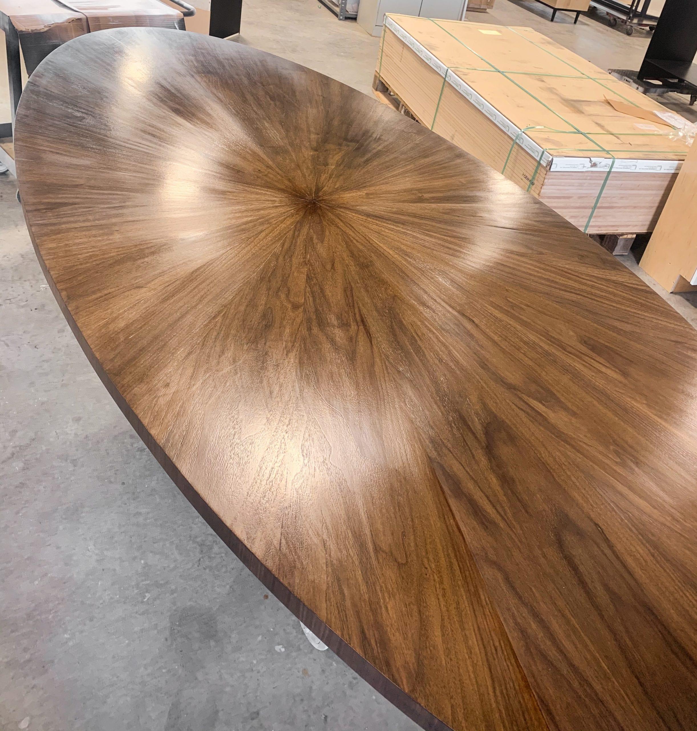 Oval Radiate Table Top Wood Grain