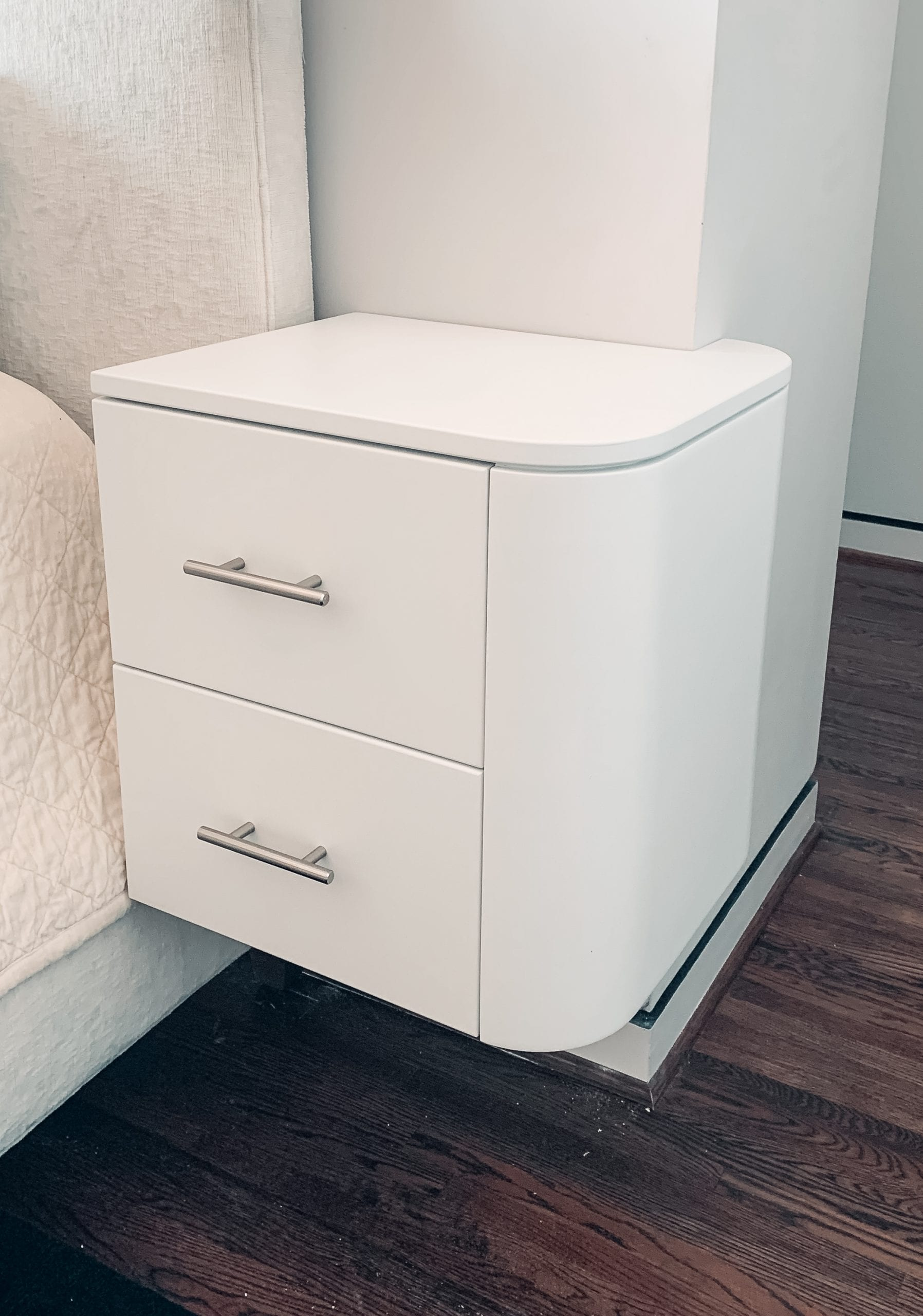 Small White Bedside Tables with Silver Handles