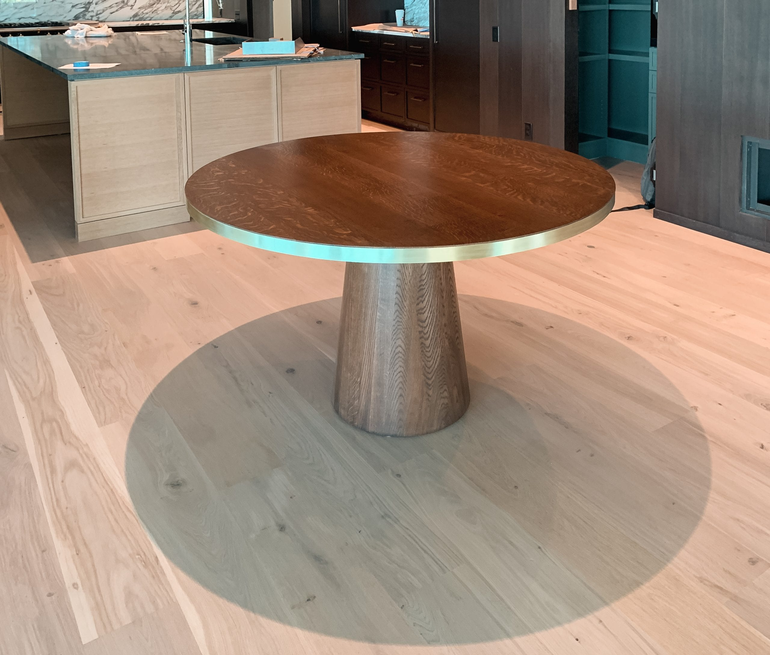 Oak and Brass Circular Dining Table in Walnut