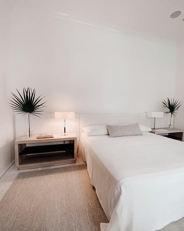 White oak and steel bedside tables