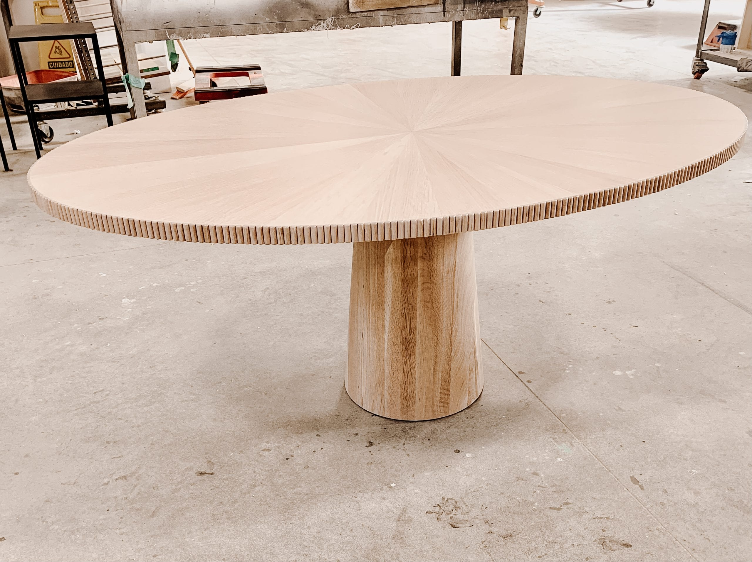 Oval Radiate Table in White Oak
