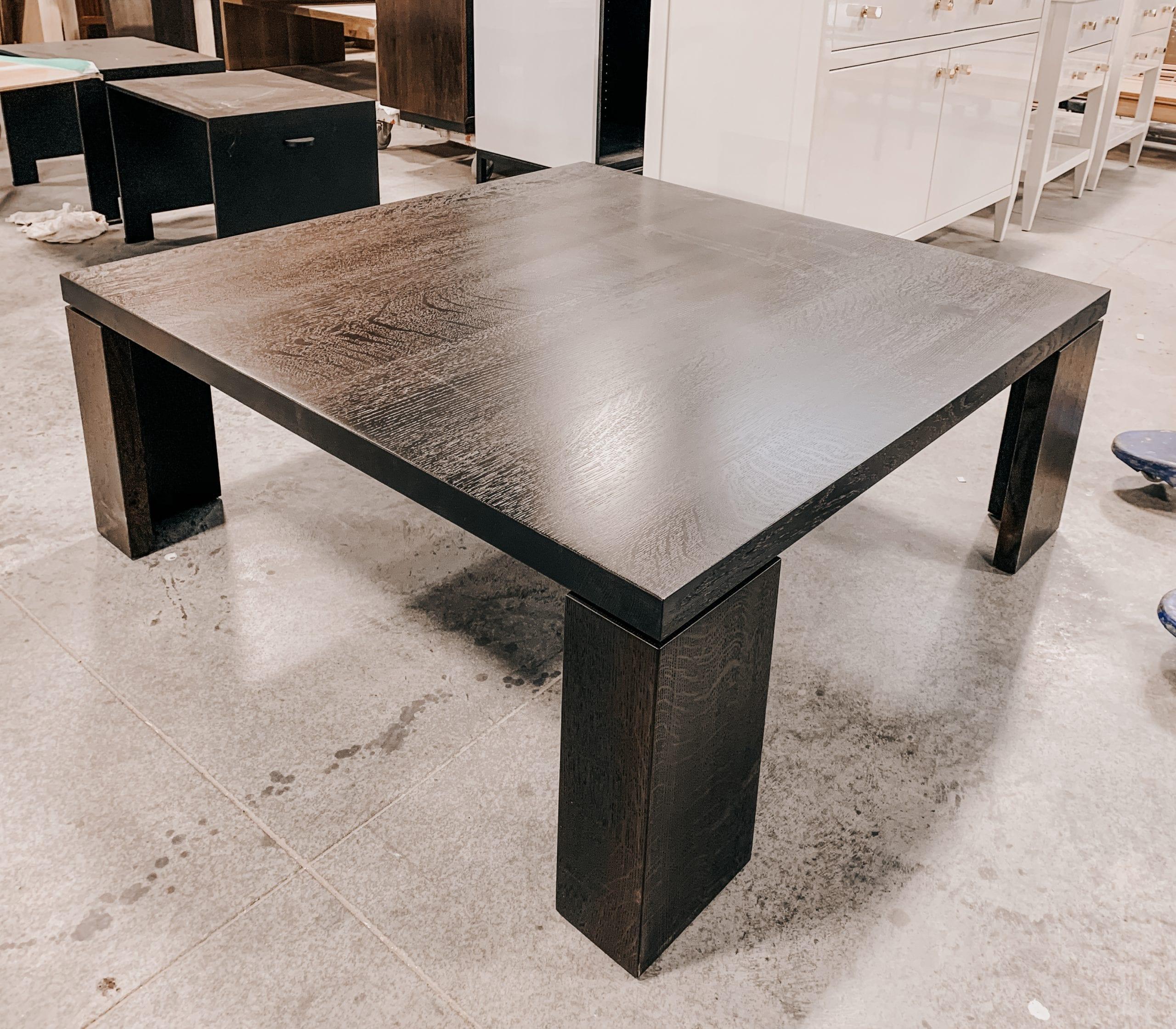 White Oak Coffee Table with Ebonized Wood Grain