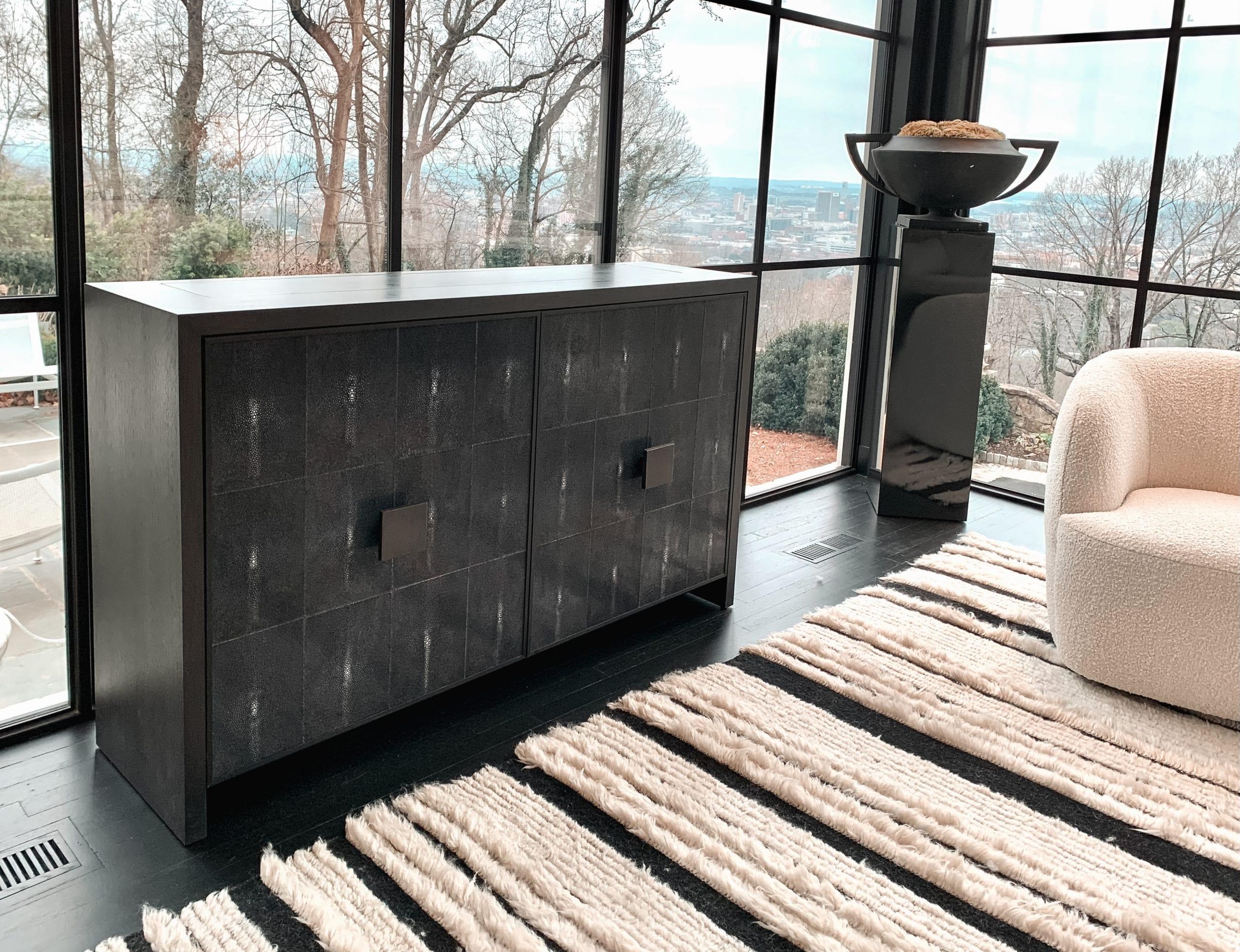 shagreen tv lift cabinet