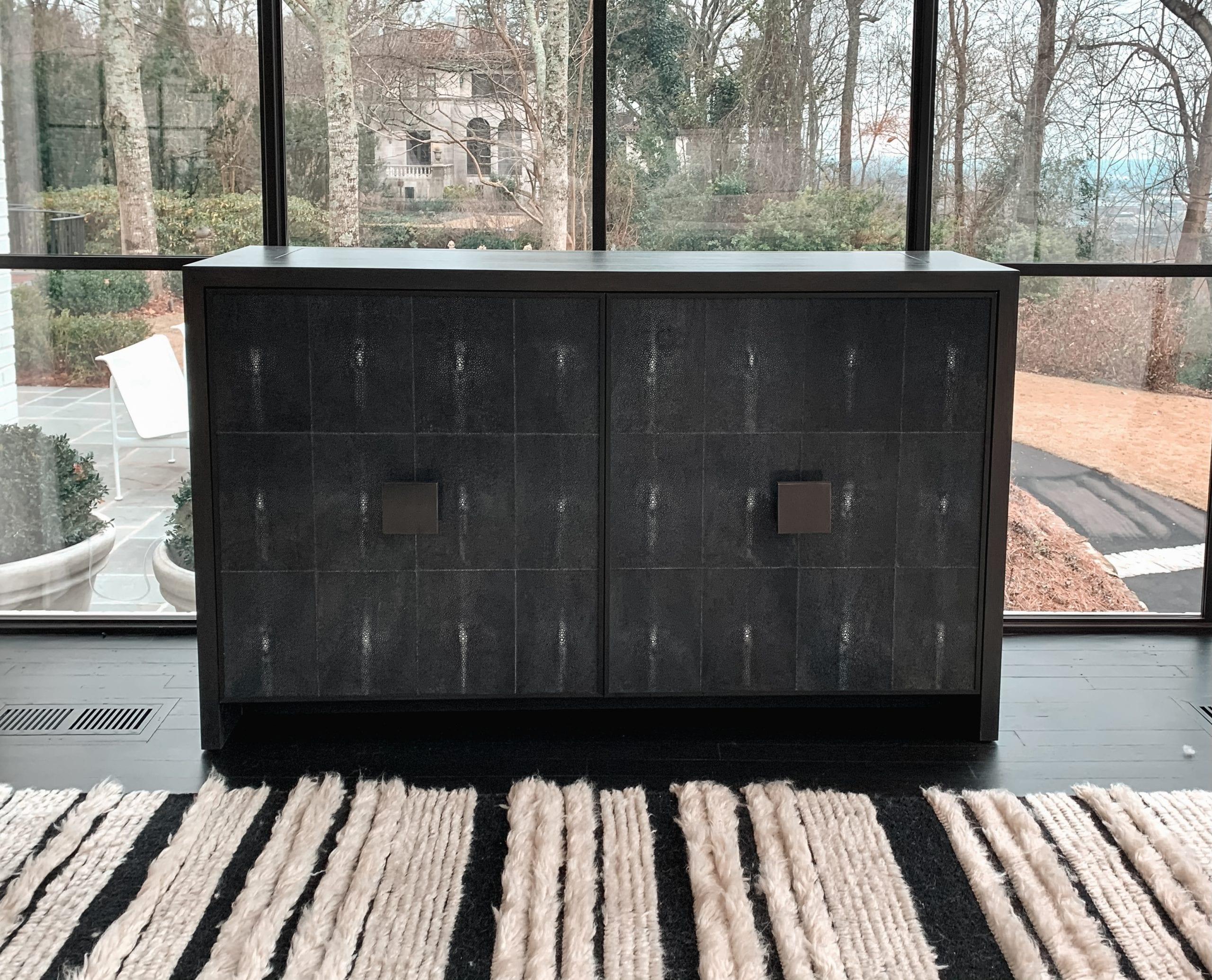 shagreen tv lift cabinet close up