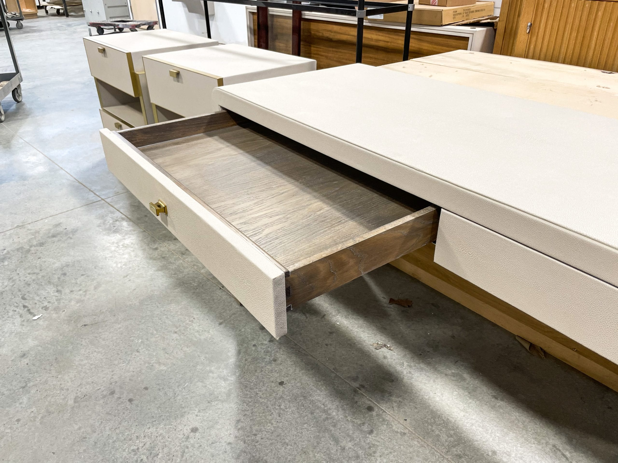Inside Drawers of White Leather Desk