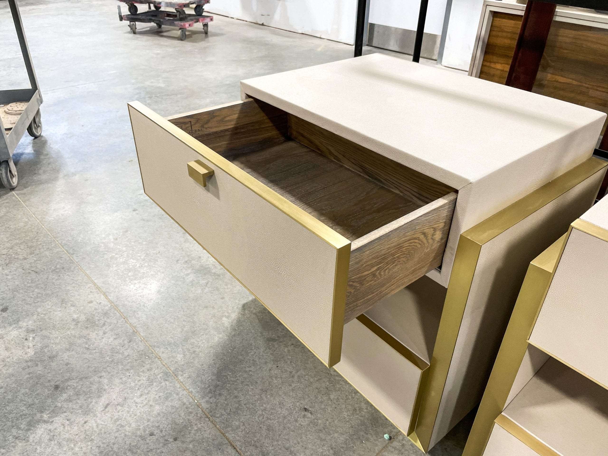 Open Leather and Brass Bedside Table