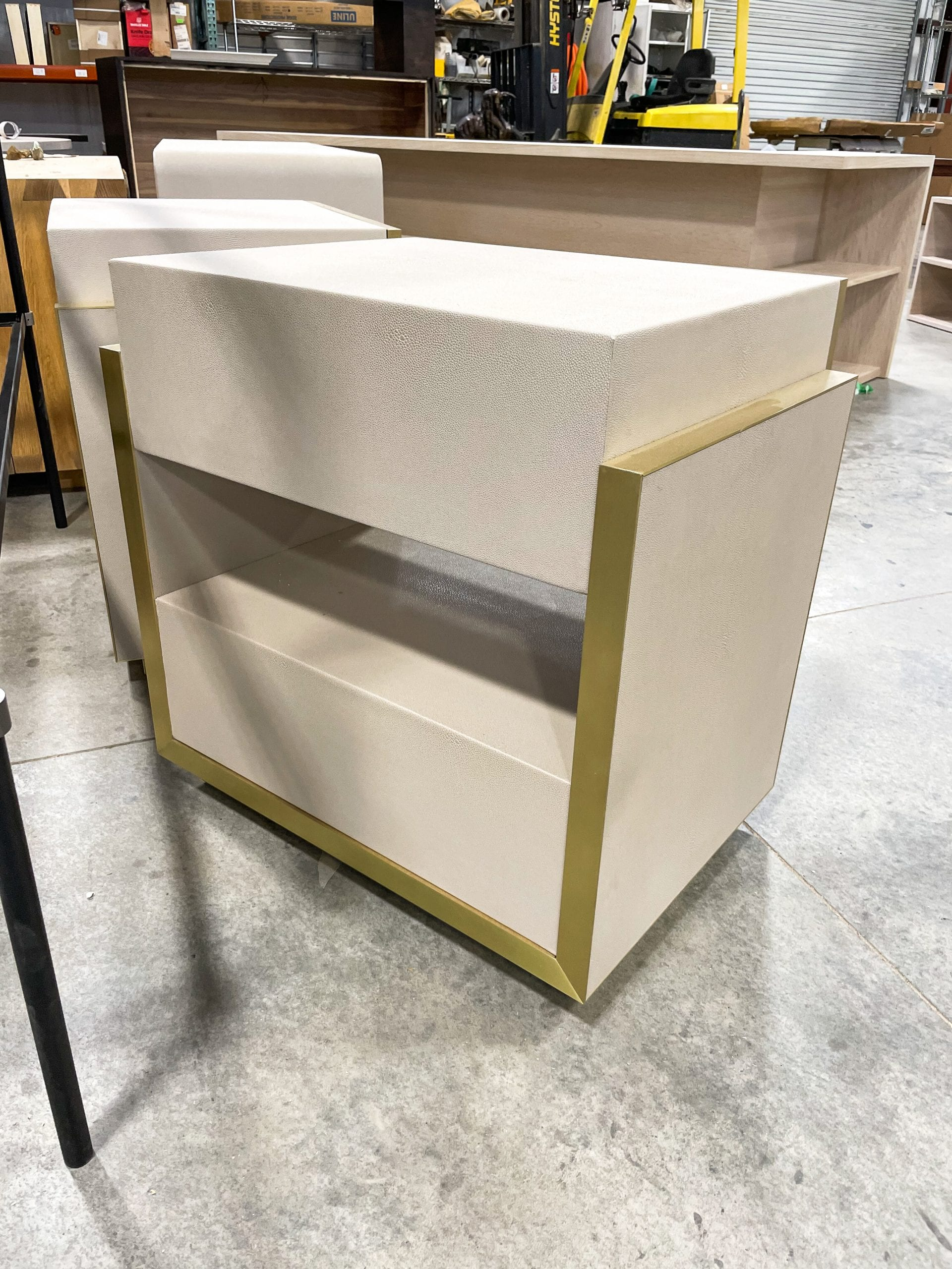 Backside Leather and Brass Bedside Table