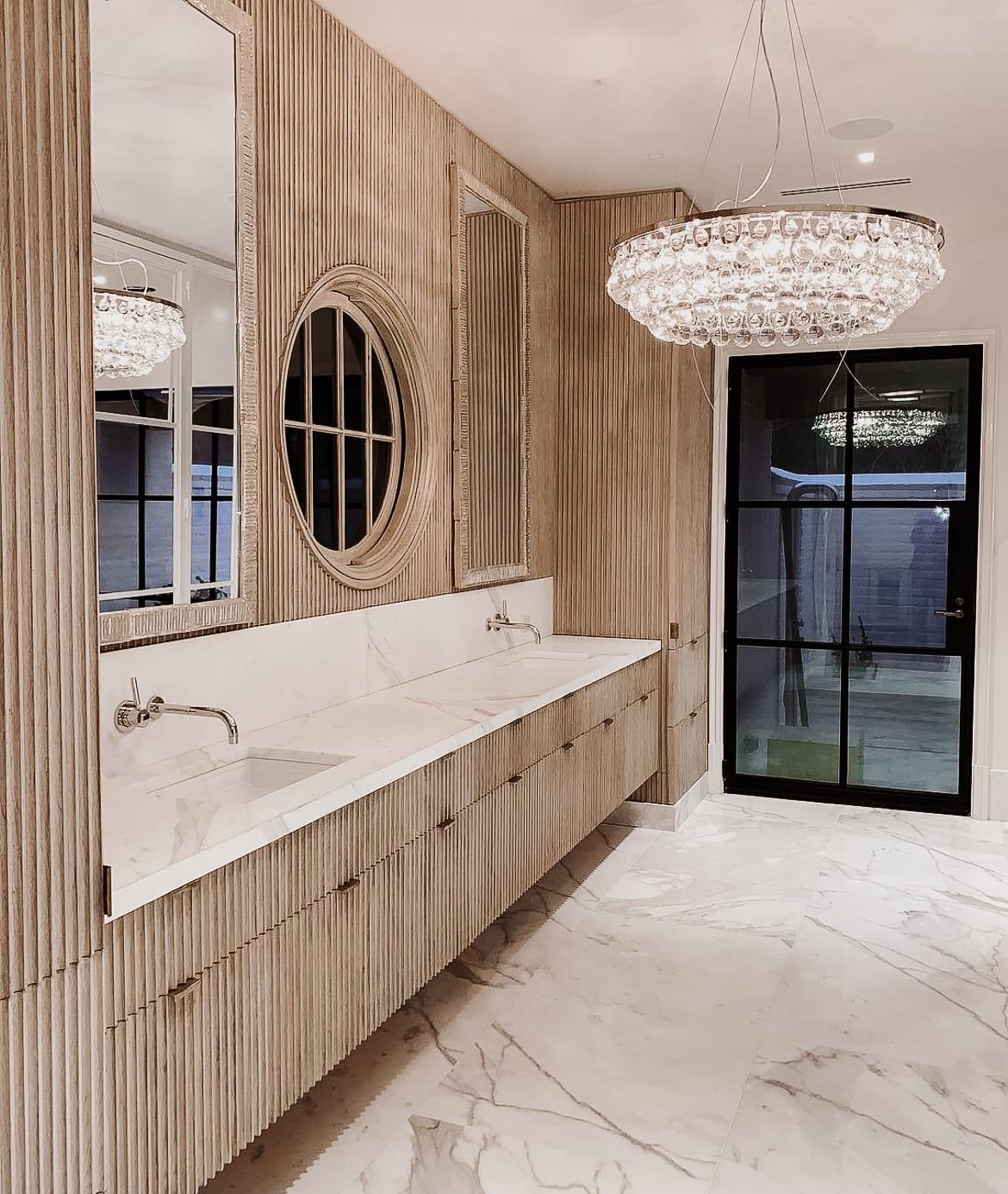 Fluted White Oak Cabinetry Set