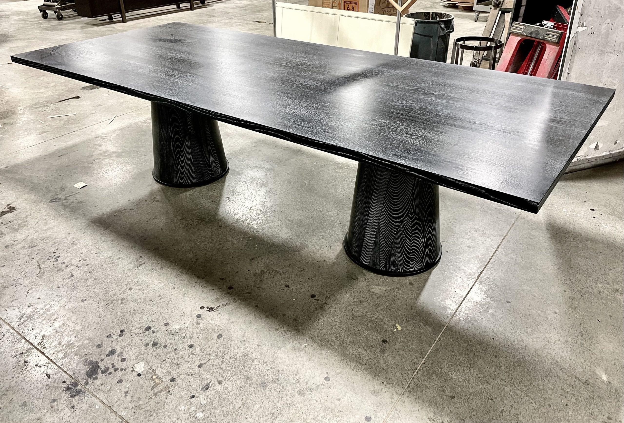 Ebonized Oak and Cerused Table