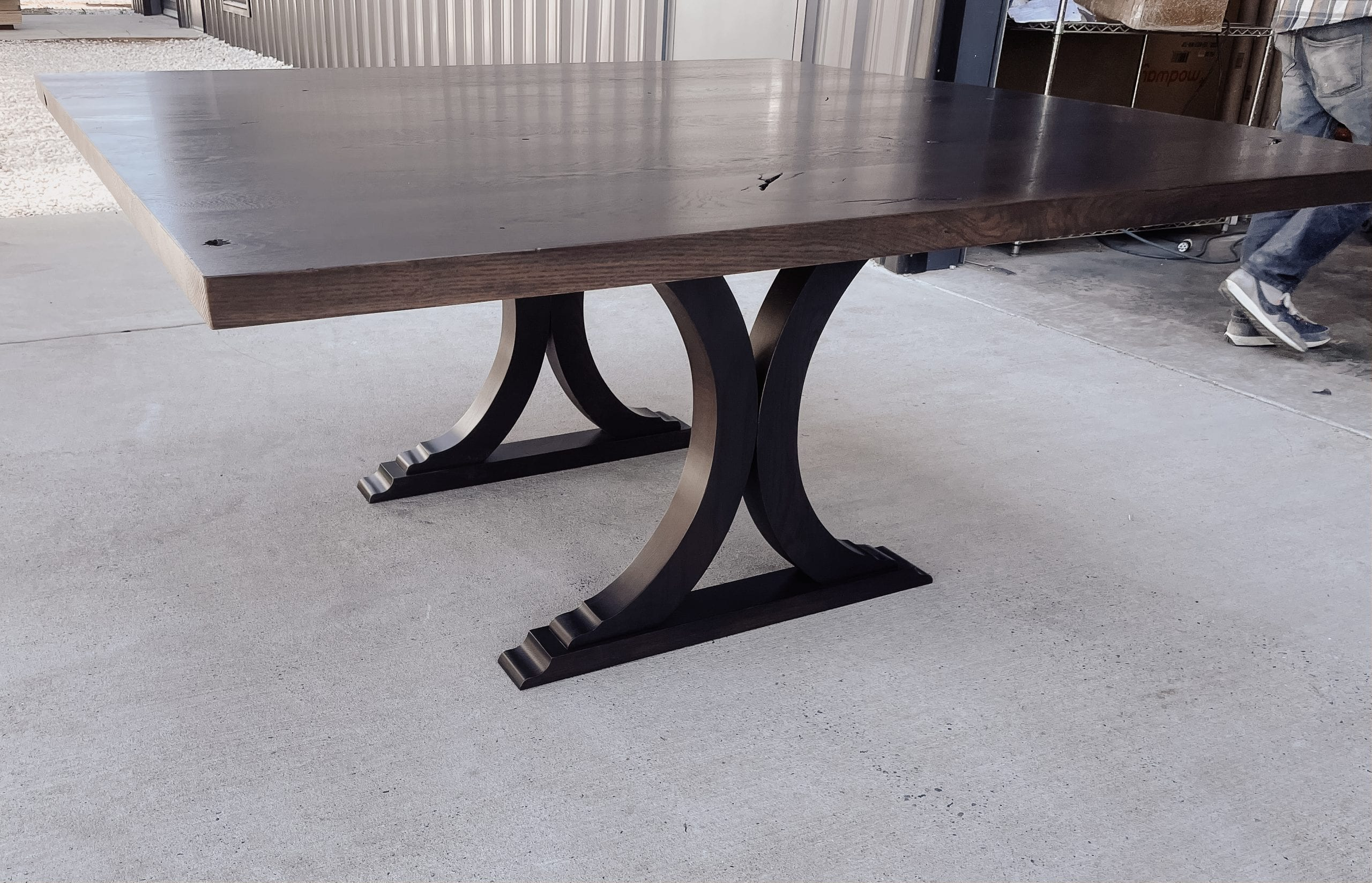 Classic details on this oak dining table