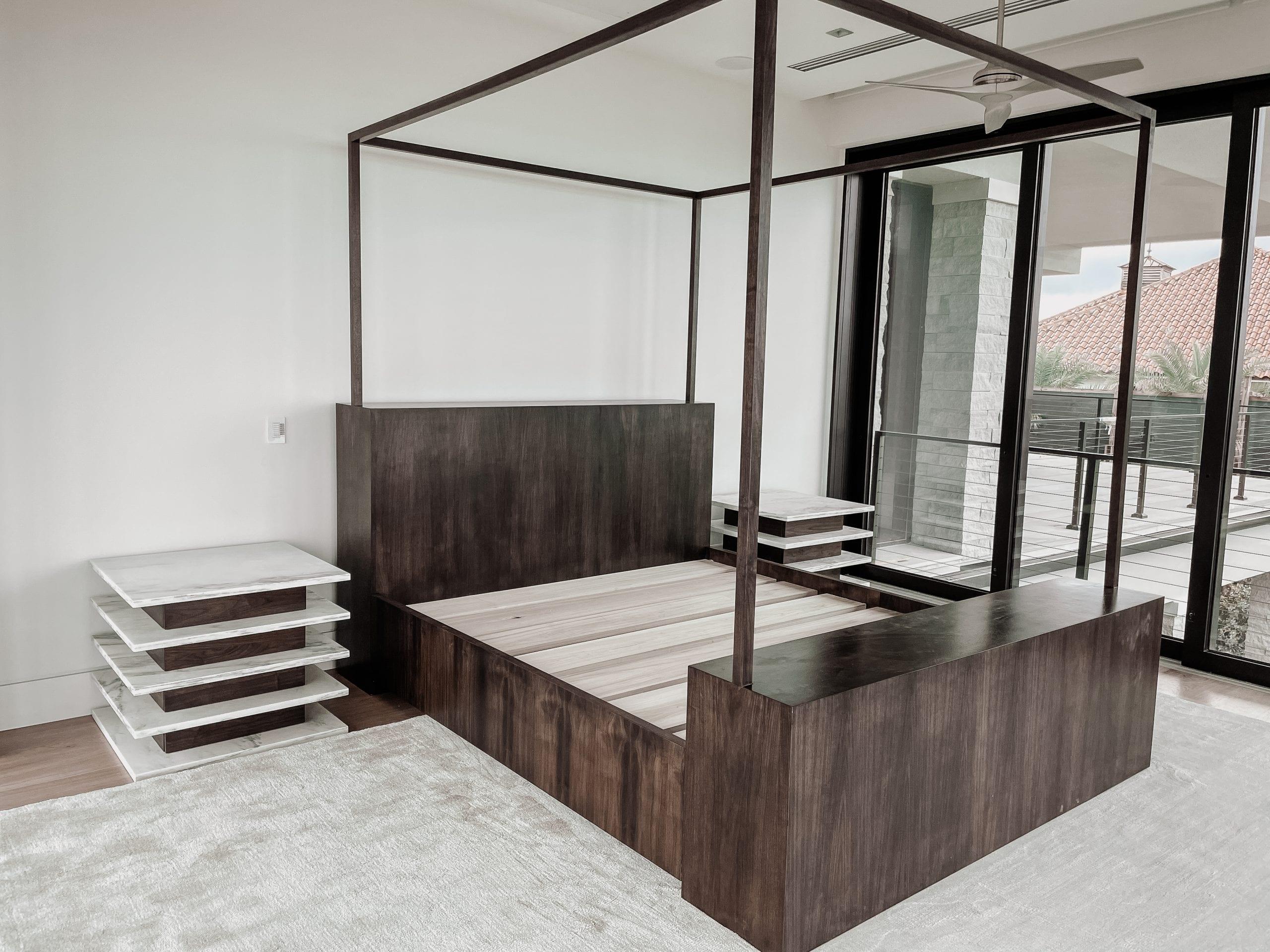 Walnut and Marble Master Bedroom Set