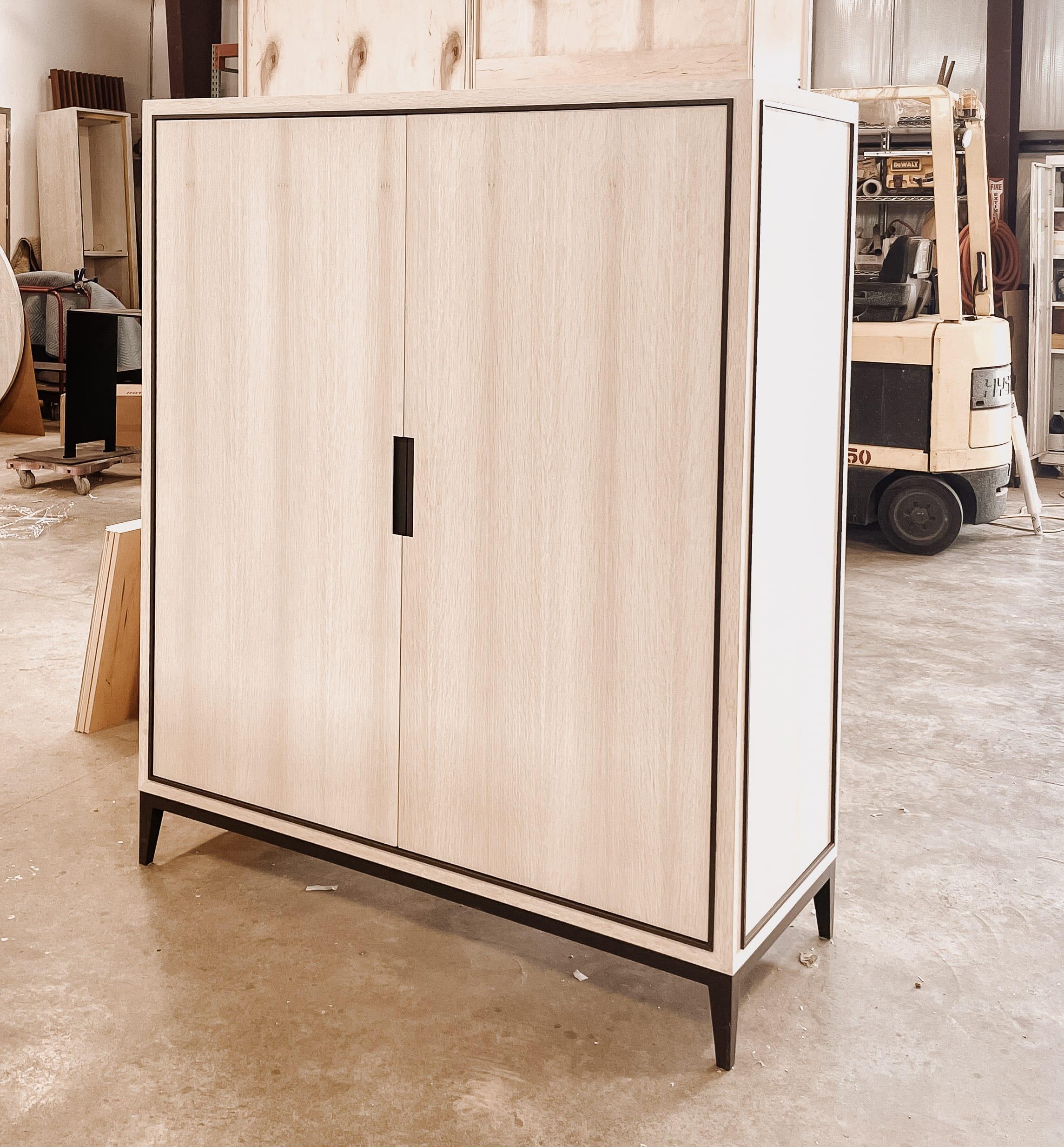 Ghost white oak and bronze tv cabinet