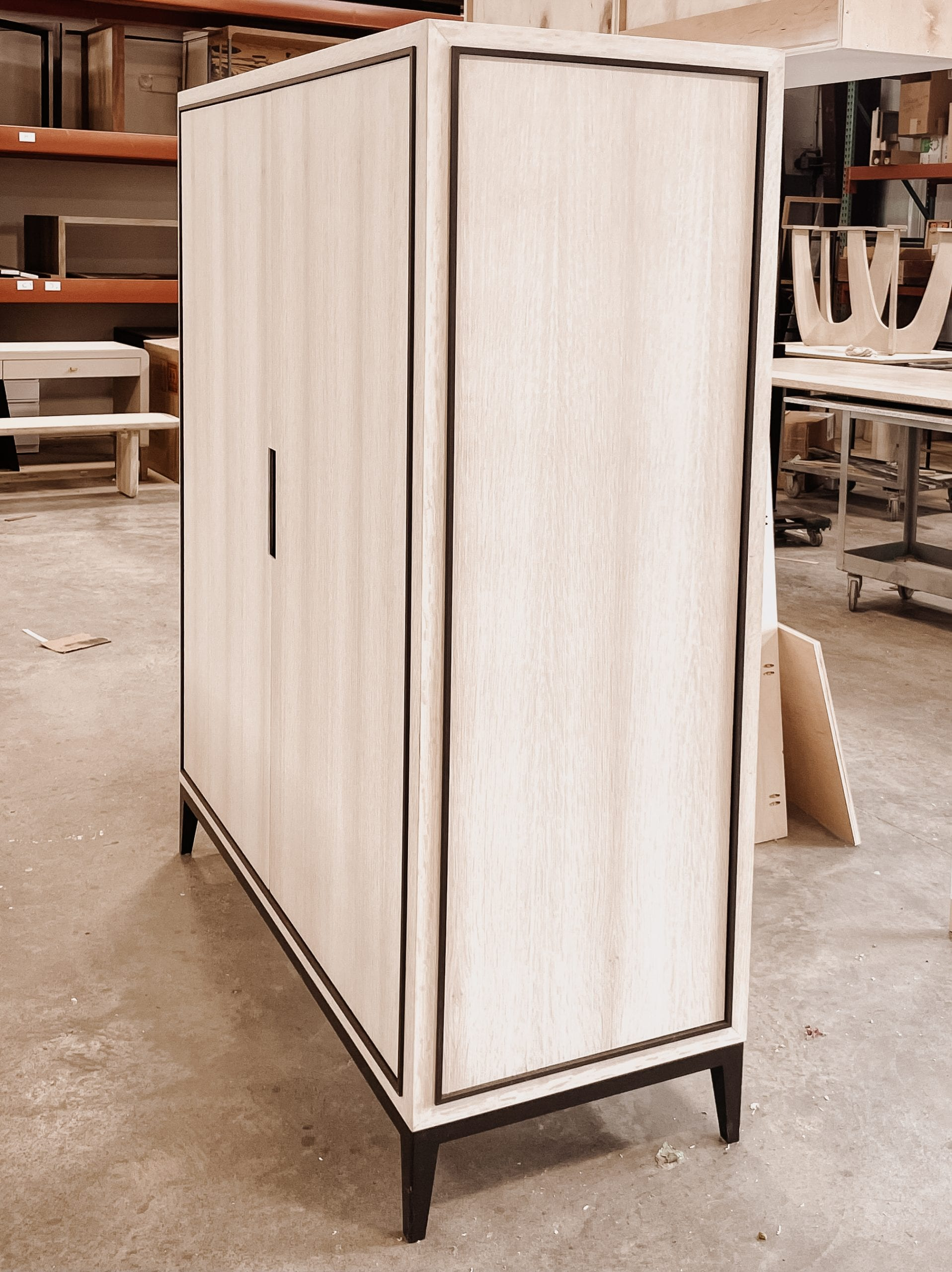 Ghost white oak and bronze tv cabinet side view