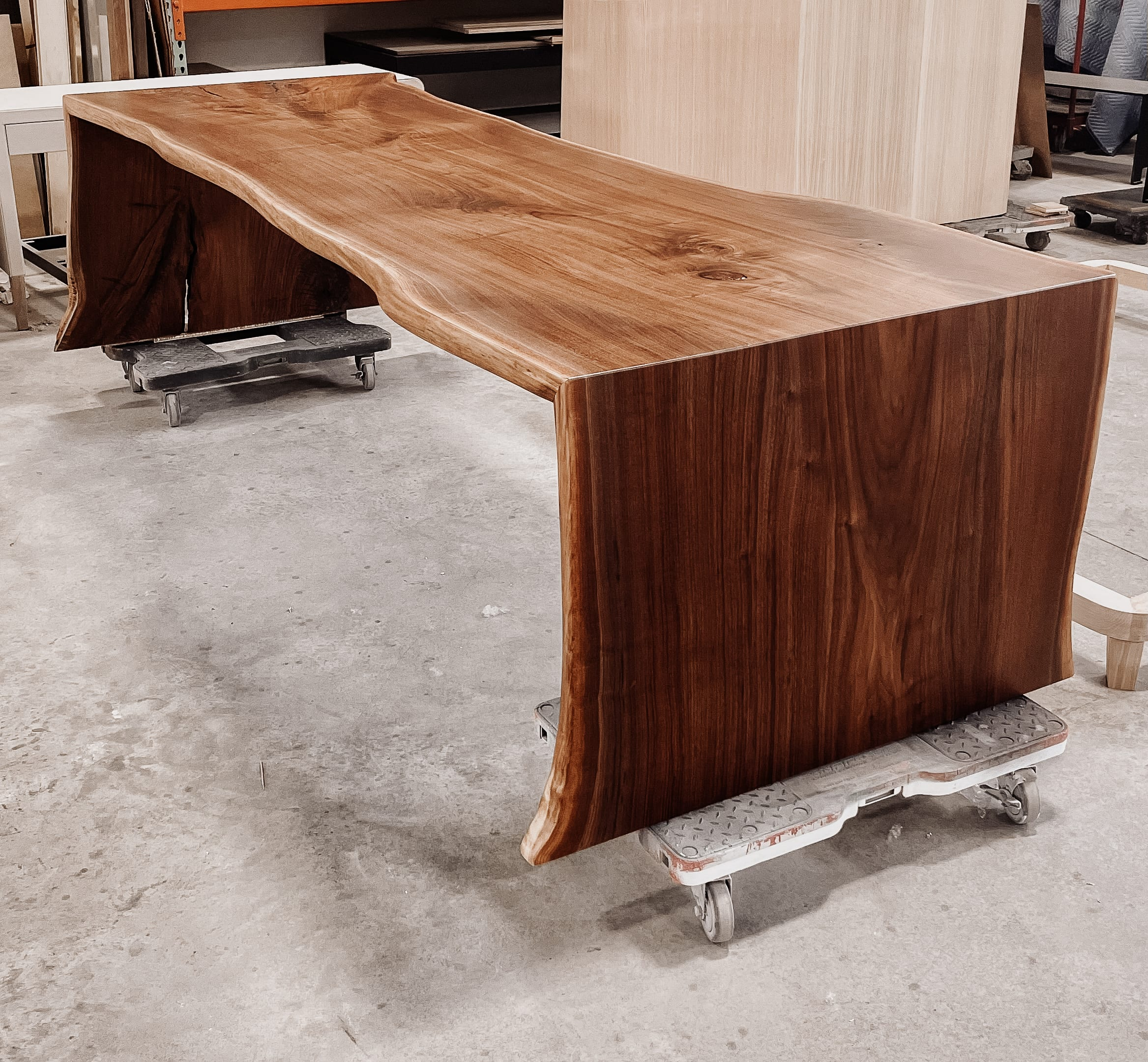 10' x 4' figured walnut dining table