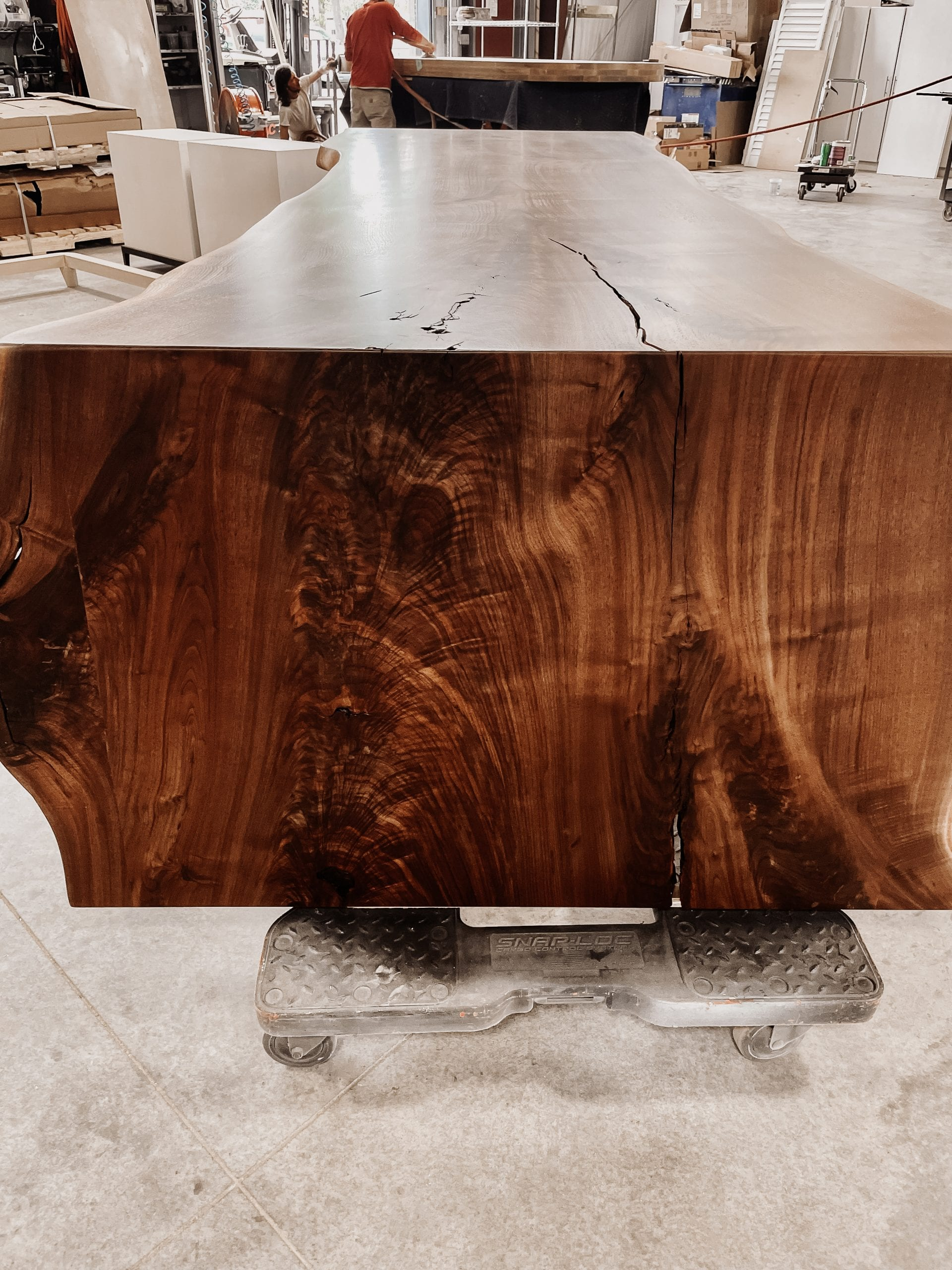 10' x 4' figured walnut dining table side view