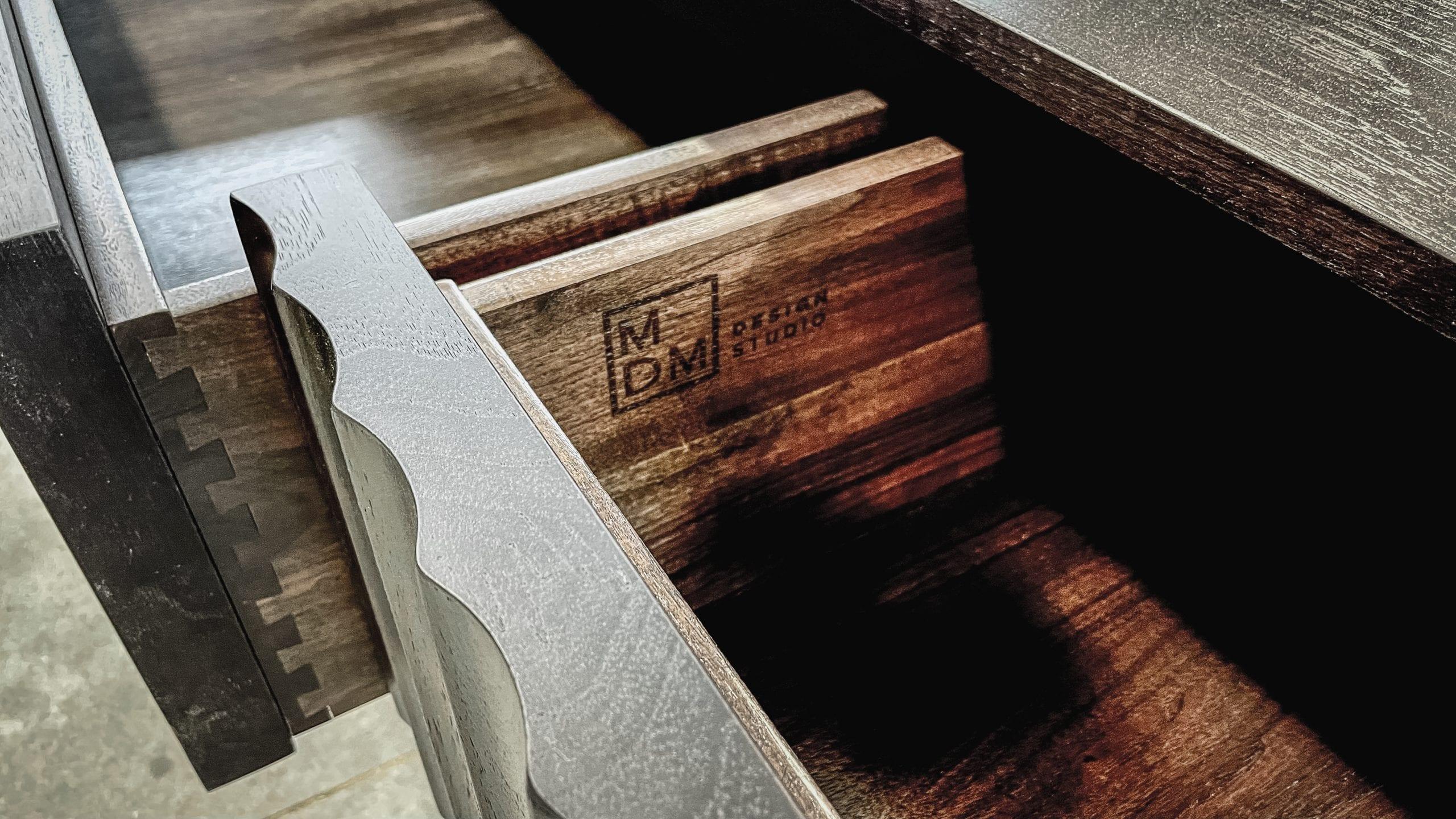 Drawer with MDM Wood Burning Detail