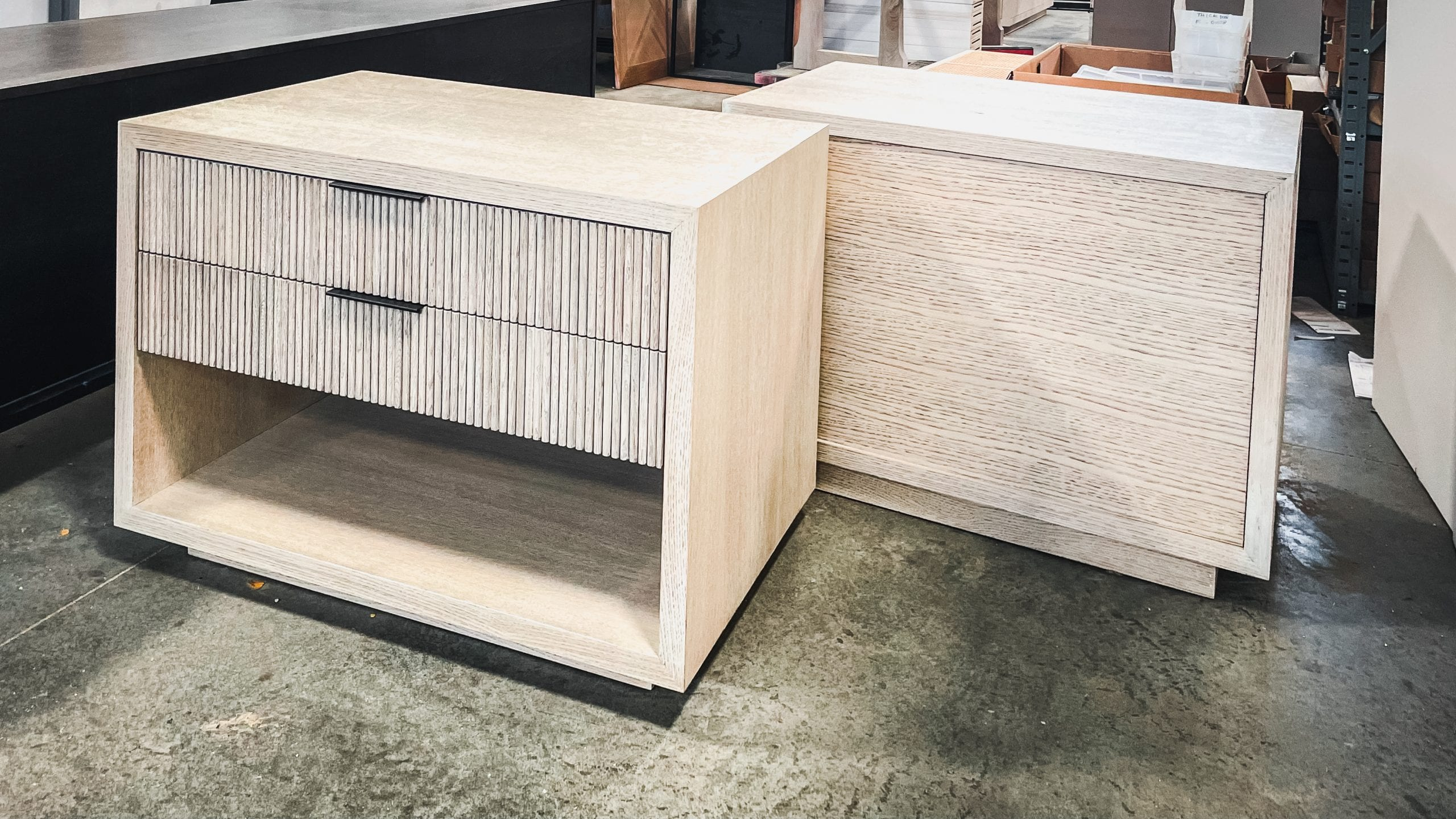 Matching Fluted Drawer Side Tables