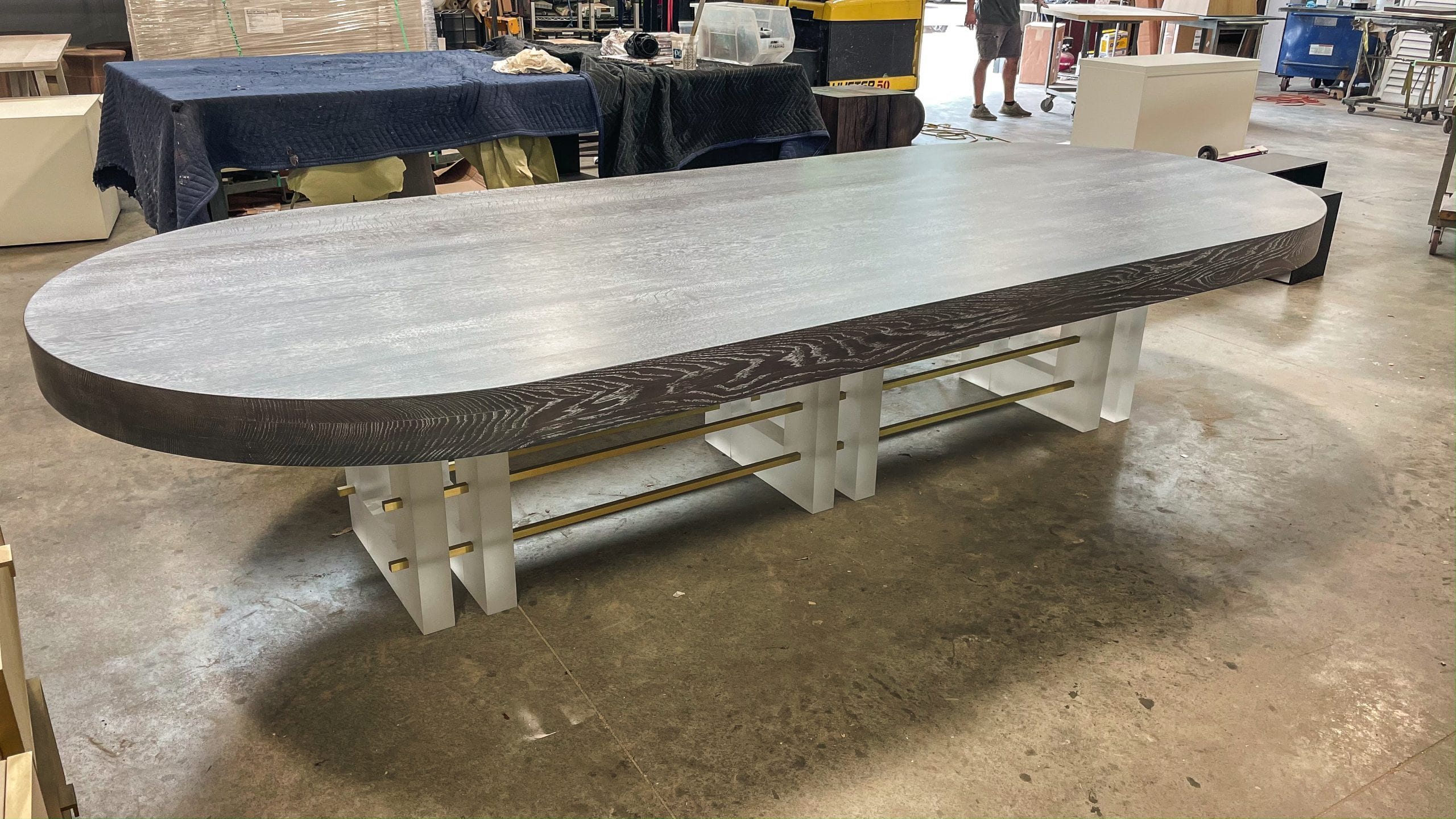 White Oak, Resin, and Brass Dining Table